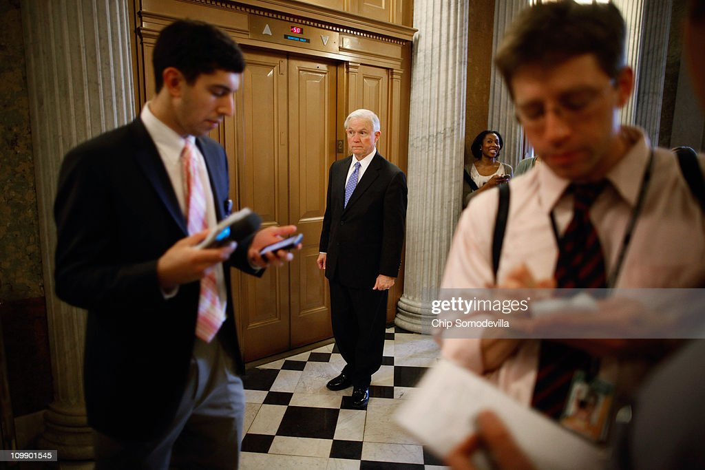 U.S. Sen. Jeff Sessions (R-AL) (C) waits for an elevator after the Senate failed to pass legislation approved last month by the House that would cut $57 billion from the federal budget at the U.S. Capitol March 9, 2011 in Washington, DC. Lawmakers must agree to another spending bill by March 18 when the current temporary budgetary measure expires.