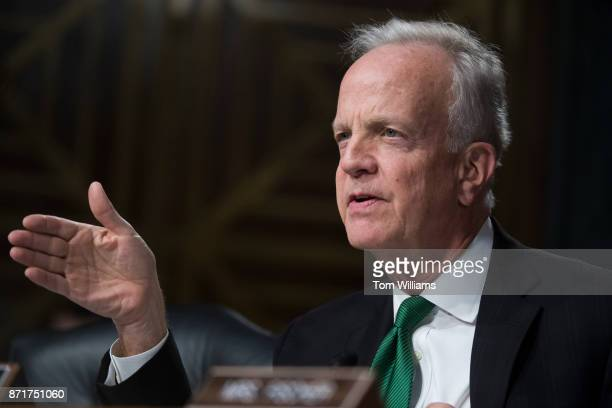 Sen Jerry Moran RKan questions a witness during a Senate Commerce Science and Transportation Committee hearing titled 'Protecting Consumers in the...