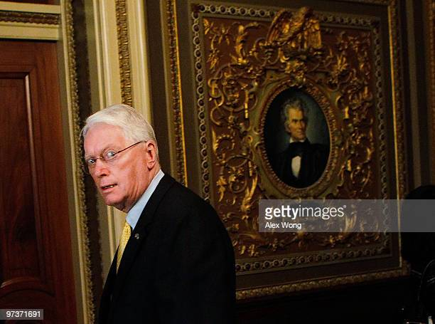 S Sen Jim Bunning enters a room for the weekly Republican policy luncheon at the US Capitol after a vote March 2 2010 in Washington DC Bunning has...