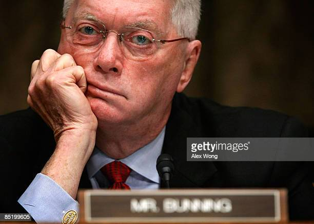 S Sen Jim Bunning listens during a hearing on Economic and Budget Challenges for the Short and Long Term before the Senate Budget Committee on...