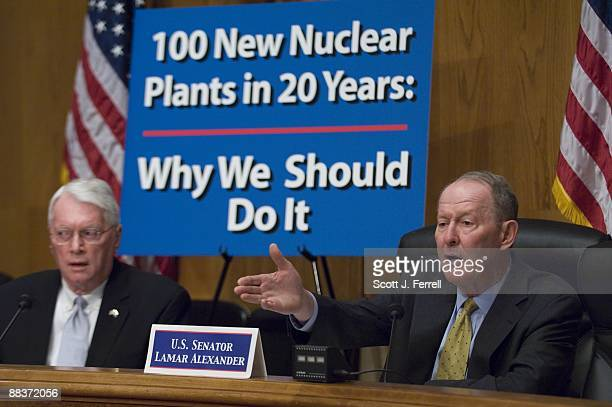 Sen Jim Bunning RKy and Sen Lamar Alexander RTenn during a Senate Republican hearing on nuclear power emphasizing its benefits and the goal of...