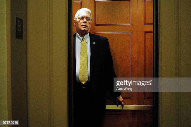 S Sen Jim Bunning takes an elevator as he arrives at the US Capitol for a vote March 2 2010 in Washington DC Bunning has been under criticism on his...