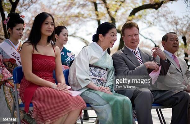 Sen Jim Webb DVa talks with Yoriko Fujisaki wife of Japan's Ambassador to the United States Ichiro Fujisaki right during the Lantern Lighting...