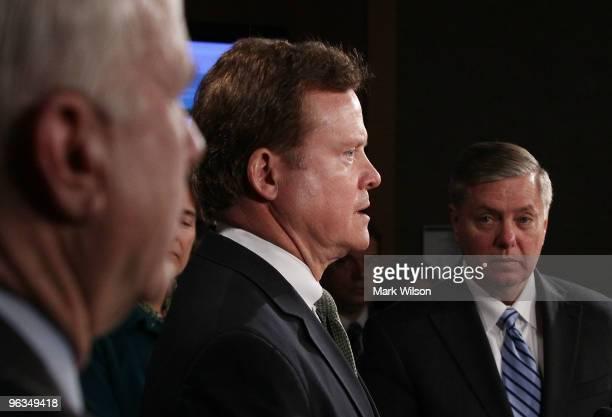 Sen Jim Webb Sen Lindsey Graham and Sen John McCain participate in news conference on Capitol Hill on February 2 2010 in Washington DC Sen Lindsey...