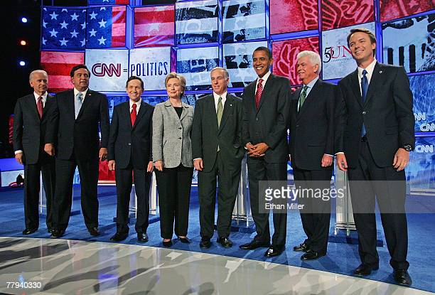 US Sen Joe Biden New Mexico Gov Bill Richardson US Rep Dennis Kucinich US Sen Hillary Clinton Democratic National Committee Chairman Howard Dean US...