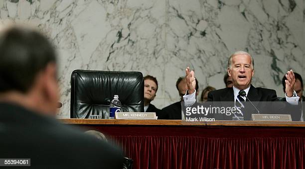 Sen. Joe Biden questions U.S. Supreme Court Chief Justice nominee John Roberts in the second day of confirmation hearings September 13, 2005 in...