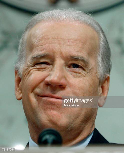 Sen. Joe Biden speaks during a Senate Foreign Relations Committee hearing on Capitol Hill on January 31, 2007 in Washington, DC. The committee is...