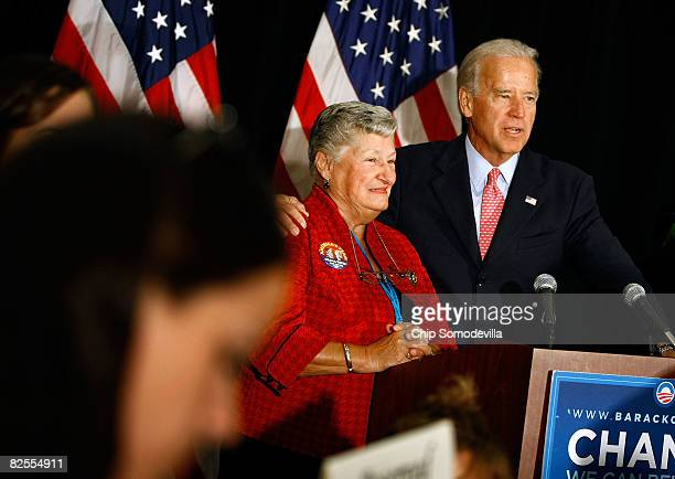 Sen. Joe Biden stands with Delaware Gov. Ruth Ann Minner while addressing Delaware's delegates to the Democratic National Convention August 26, 2008...