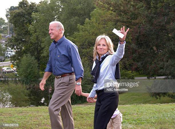 NBC NEWS Sen Joe Biden Vice Presidency Campaign Pictured Sen Joe Biden and wife Jill Biden holding granddaughter Natalie Biden's hand take the stage...