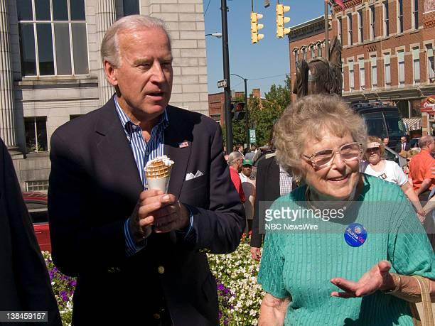 Sen. Joe Biden Vice Presidency Campaign -- Pictured: Sen. Joe Biden walks with Emily Brown, mother of Sen. Sherrod Brown, at a retail stop in...