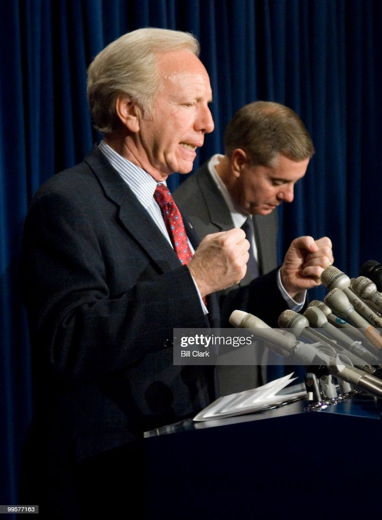 Sen. Joe Lieberman, I-Ct., and Sen. Lindsay Graham, R-S.C., conduct a news conference on the war in Iraq in the Senate TV studio on Monday Jan. 8, 2006.