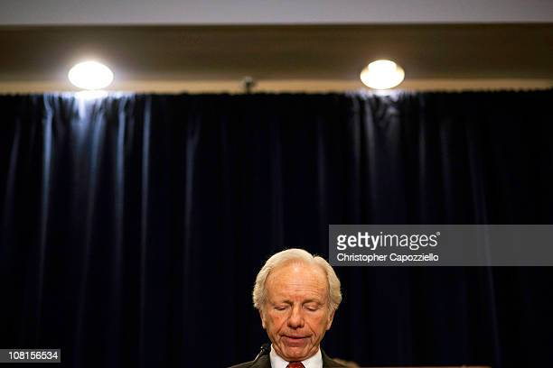 S Sen Joe Lieberman speaks during a press conference announcing would not seek reelection in 2012 at the Marriott hotel January 19 2011 in Stamford...