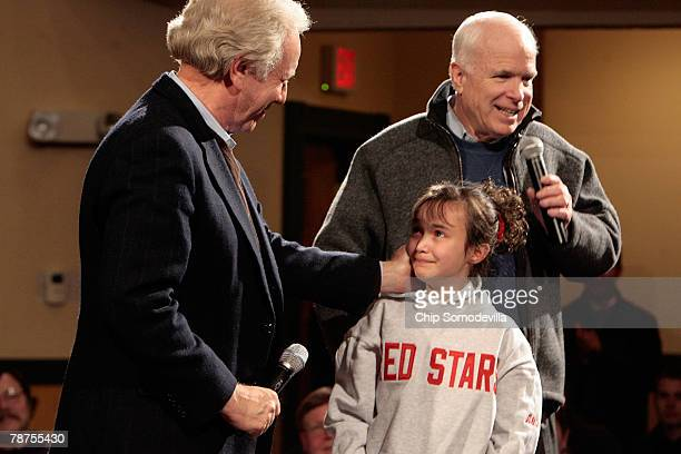 Sen. Joe Lieberman thanks 10-year-old Allie Nault for her question to Republican presidential hopeful Sen. John McCain during a town hall meeting at...