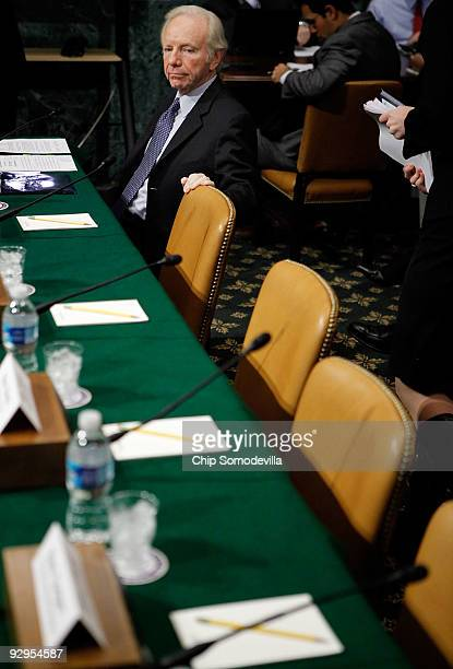 Sen Joe Lieberman waits for fellow witnesses before testifying to the Senate Budget Committee Capitol Hill November 10 2009 in Washington DC...