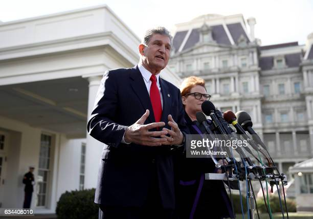 Sen Joe Manchin and Sen Heidi Heitkamp speak to members of the press following a meeting with US President Donald Trump on February 9 2017 in...