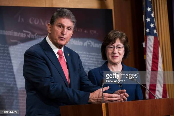 Sen. Joe Manchin and Sen. Susan Collins speak during a press conference after the Senate passed a procedural vote for a continuing resolution to fund...