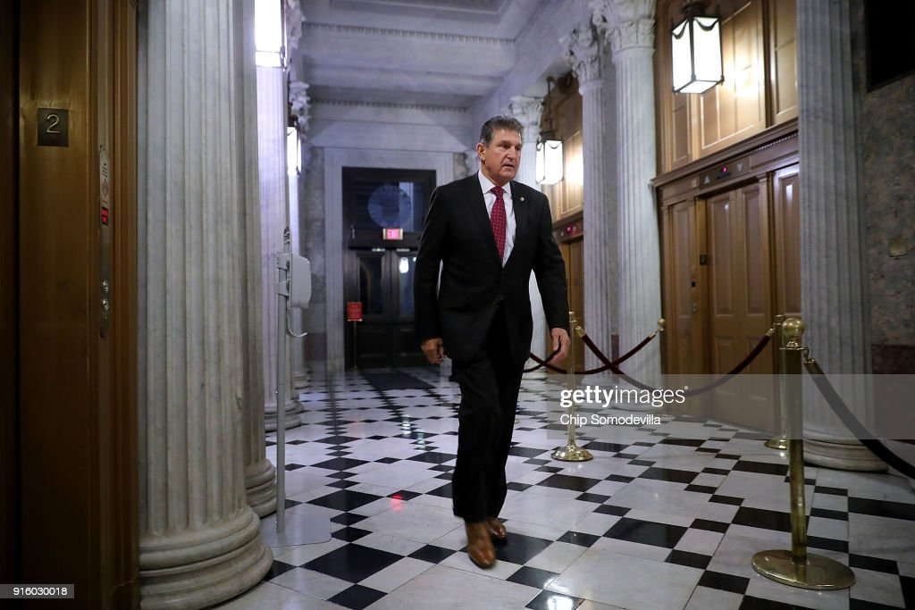 Sen. Joe Manchin (D-WV) arrives at the U.S. Capitol for early morning votes February 9, 2018 in Washington, DC. Despite an attempt by Sen. Rand Paul (R-KY) to slow down the process, the Senate passed bipartisan legislation to continue to fund the government and lift strict budget caps. With the government officially in a shut down, the legislation now goes to the House of Representatives.