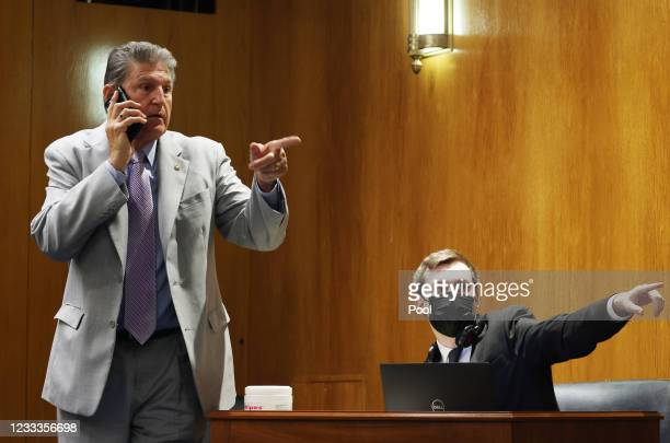 Sen. Joe Manchin, attends a Senate Appropriations Subcommittee with testimony by Xavier Becerra, Secretary of the Department of Health and Human...