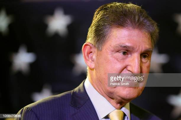 Sen. Joe Manchin celebrates at his election day victory party at the Embassy Suites on November 6, 2018 in Charleston, West Virginia. Manchin won his...