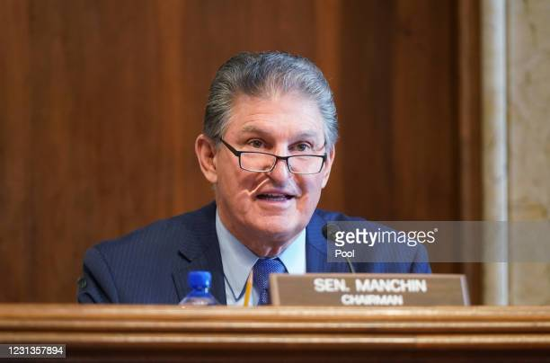 Sen. Joe Manchin, , chairman of the Senate Committee on Energy and Natural Resources, gives opening remarks at the confirmation hearing for Rep....