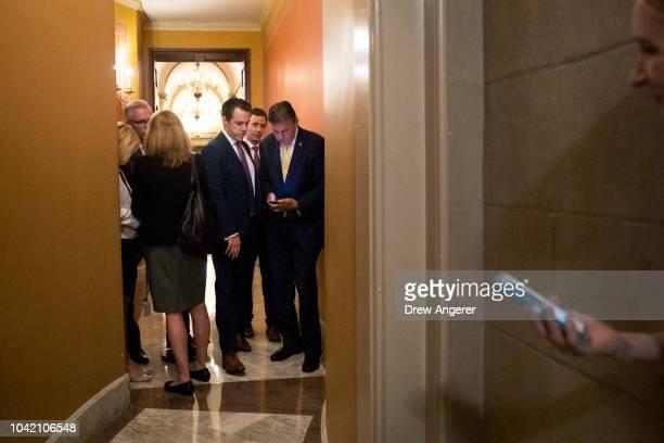 Sen Joe Manchin exits after meeting privately with Senators Jeff Flake Susan Collins and Lisa Murkowski following the Senate Judiciary Committee...
