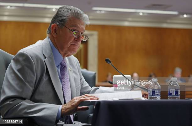 Sen. Joe Manchin, questions Xavier Becerra, Secretary of the Department of Health and Human Services , as he testifies before a Senate Appropriations...