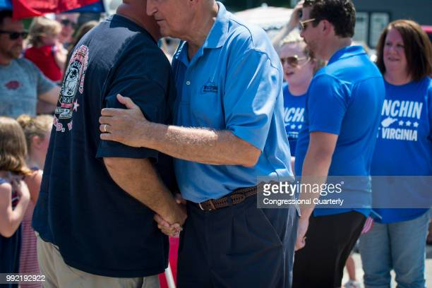 Sen Joe Manchin RWVa greets a supporter during the Ripley 4th of July Grand Parade in Ripley West Virginia Wednesday July 4 2018