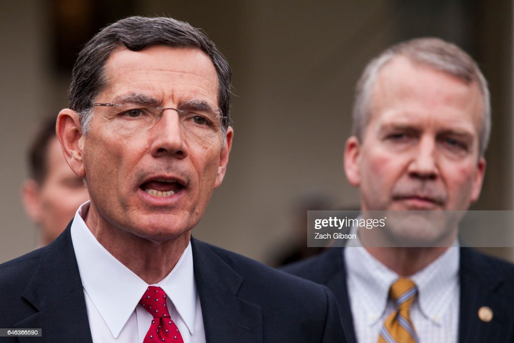 Sen. John Barasso (R-WY) speaks to the press after President Trump signed an executive order aimed at undoing former President Barack Obama's Clean Water Rule at The White House on February 28, 2017 in Washington, D.C.