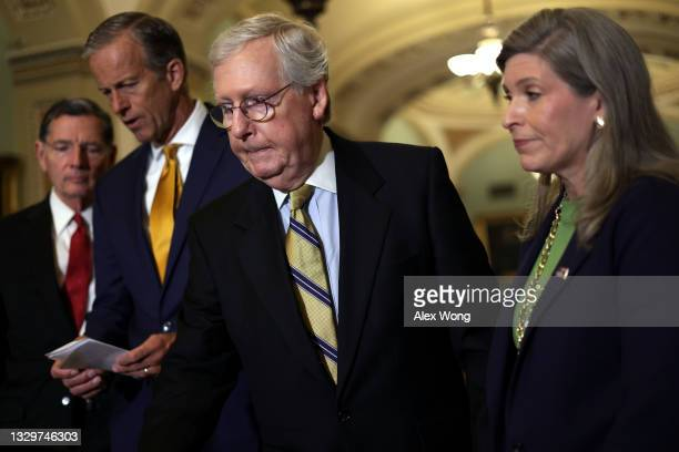 Sen. John Barraso , Senate Minority Whip Sen. John Thune , Senate Minority Leader Sen. Mitch McConnell and Sen. Joni Ernst during a news briefing...