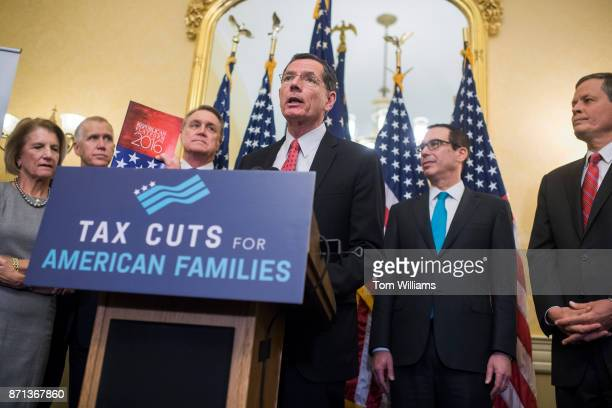 Sen John Barrasso RWyo speaks during a news conference in the Capitol where GOP senators said families and small businesses would benefit from tax...