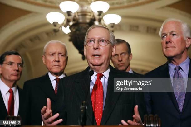 Sen John Barrasso Senate Finance Committee Chairman Orrin Hatch Senate Majority Leader Mitch McConnell Sen John Thune and Senate Majority Whip John...