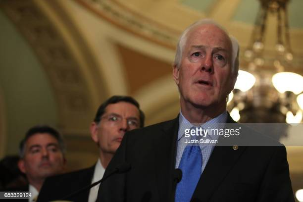 Sen John Cornyn speaks during a news conference on Capitol Hill on March 14 2017 in Washington DC Republican and Democratic senators answered a range...