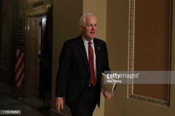 S Sen John Cornyn walks in a hallway at the US Capitol after a meeting in the office of Senate Majority Leader Sen Mitch McConnell January 28 2019 in...