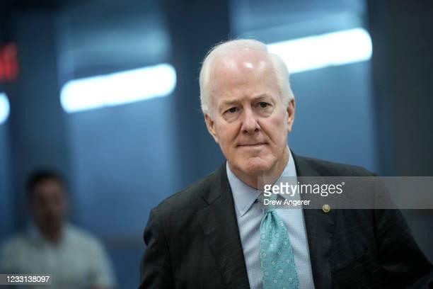 Sen. John Cornyn walks through the Senate subway on his way to a vote at the U.S. Capitol May 27, 2021 in Washington, DC. The mother of late Capitol...