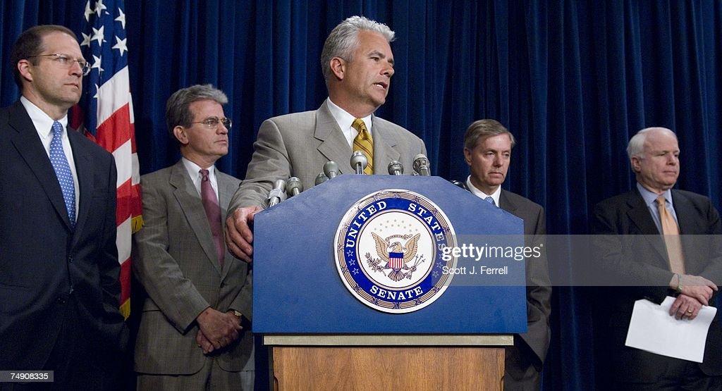Senators On Emergency Supplemental Appropriations Bill : News Photo