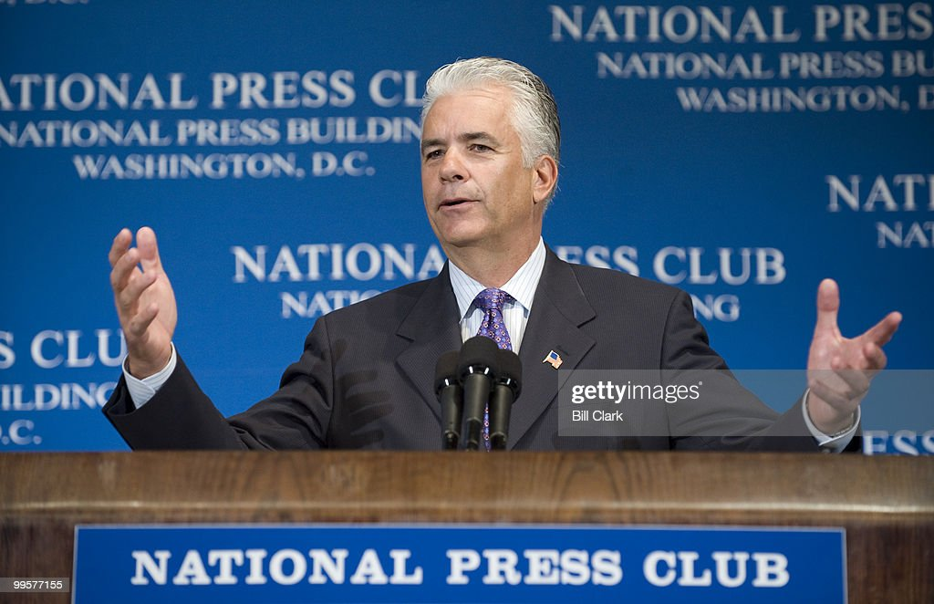 Sen. John Ensign, R-Nev., chairman of the National Republican Senatorial Committee, speaks about the 2008 U.S. Senate races at the National Press Club on Tuesday, Oct. 21, 2008. Sen. Charles Schumer, D-N.Y., chairman of the Democratic Senatorial Campaign Committee,also spoke.