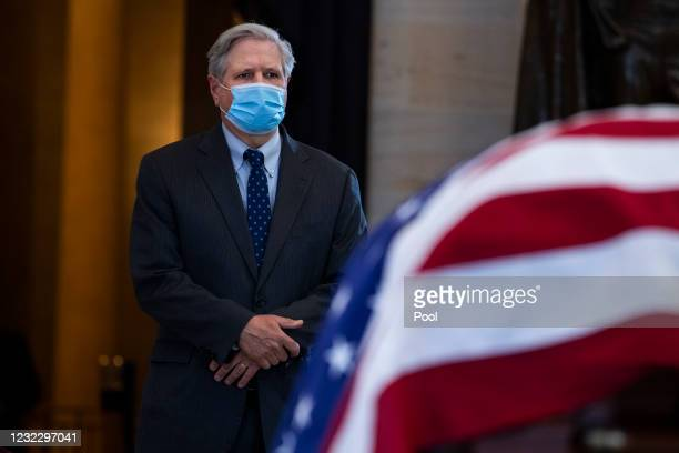 Sen. John Hoeven , pays respects to U.S. Capitol Officer William Billy Evans, as his remains lie in honor in the Capitol Rotunda in Washington, D.C.,...