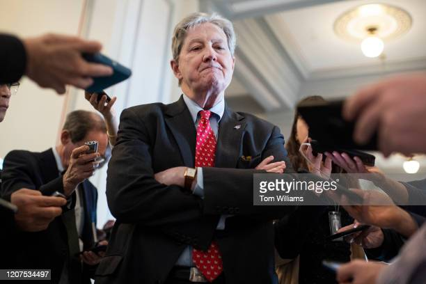 Sen John Kennedy RLa talks with reporters after the Senate Republican Policy luncheon in Russell Building on Tuesday March 17 2020 Treasury Secretary...