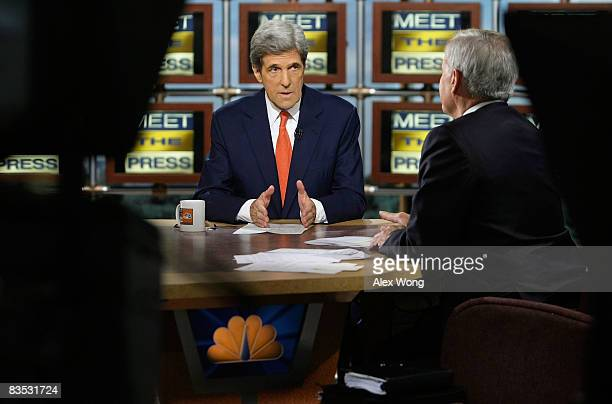 US Sen John Kerry a supporter of Democratic presidential nominee Sen Barack Obama speaks as he is interviewed by moderator Tom Brokaw during a taping...