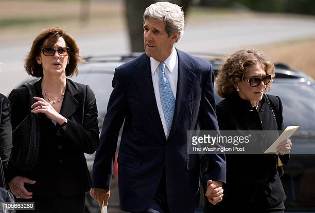 Sen John Kerry and his wife Teresa Heinz Kerry depart the funeral service for former Sen Ted Stevens at Arlington Cemetery in Arlington Virginia on...
