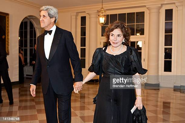 Sen John Kerry and Teresa Heinz Kerry arrive for a State Dinner in honor of British Prime Minister David Cameron at the White House on March 14 2012...