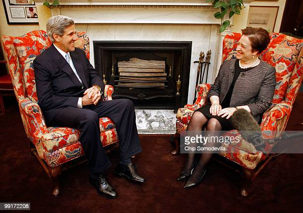 Sen. John Kerry meets with U.S. Solicitor General and Supreme Court nominee Elena Kagan in his personal office in the Russell Senate Office Building...