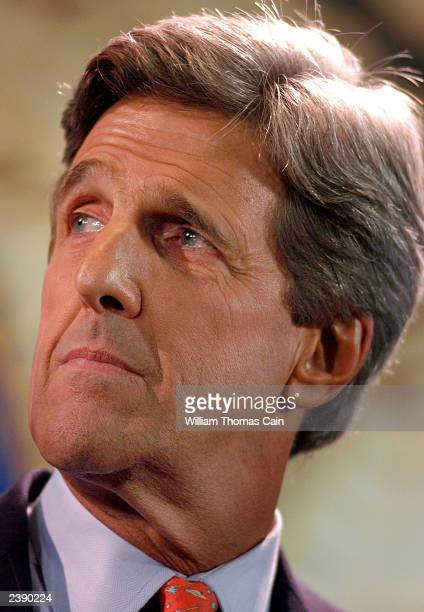 Sen. John Kerry participates in a town hall meeting of Democratic presidential candidates at the National Constitution Center August 11, 2003 in...