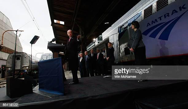 Sen. John Kerry , Sen. Jay Rockefeller , Sen. Arlen Specter and Sen. Frank Lautenberg look on as U.S. Vice President Joe Biden speaks at Union...