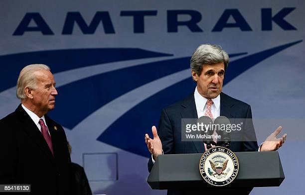 Sen. John Kerry speaks as U.S. Vice President Joe Biden looks on at Union Station while it was announced that Amtrak will receive $1.3 billion in...
