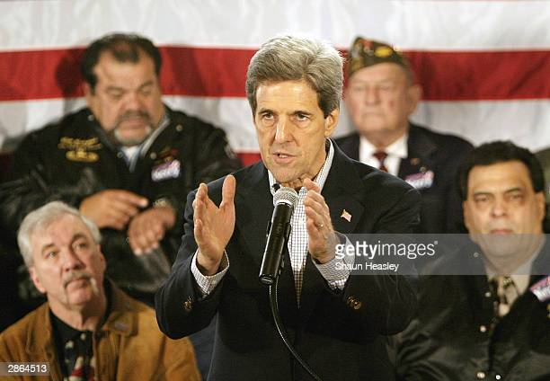 S Sen John Kerry speaks at a town hall meeting with veterans and other supporters of Kerry's presidential bid at the Black Hawk County Soldiers...