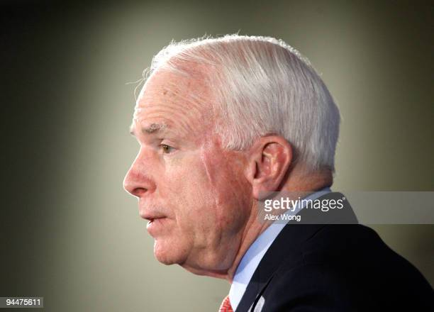 S Sen John McCain addresses the Heritage Foundation December 15 2009 in Washington DC Sen McCain spoke on the war in Afghanistan and President...
