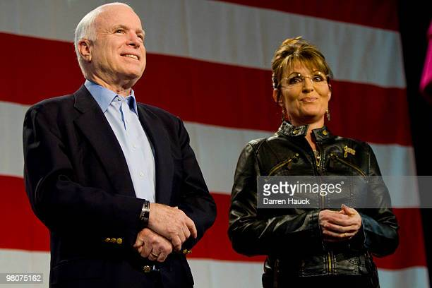 S Sen John McCain and former Alaska Gov Sarah Palin attend a campaign rally at Pima County Fairgrounds on March 26 2010 in Tucson Arizona Palin...