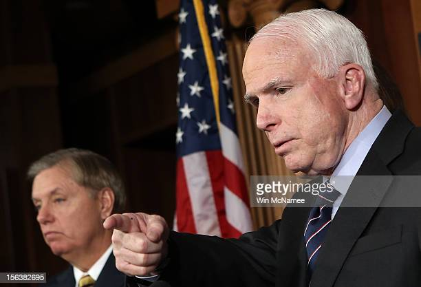 Sen. John McCain and Sen. Lindsey Graham hold a news conference on the Benghazi terrorist attack at the U.S. Capitol November 14, 2012 in Washington,...