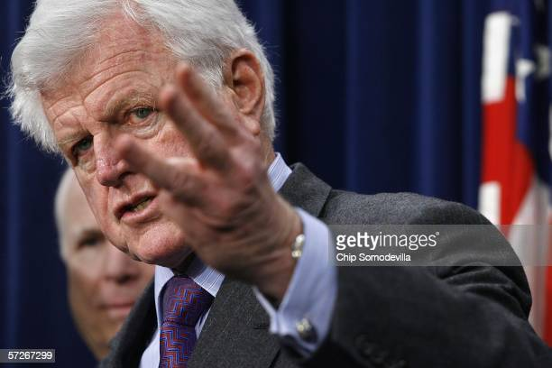 Sen. John McCain and U.S. Sen. Ted Kennedy speak during a news conference at the Capitol April 6, 2006 in Washington, DC. Senators McCain and Kennedy...